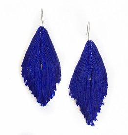 Navy Feather Earrings