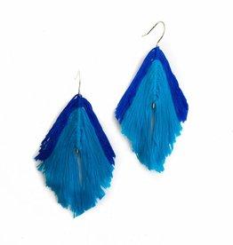 Blue Striped Feather Earrings