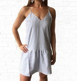 Blue Stripe Peplum Dress
