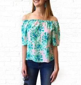Pink/Mint Palm Print Off Shldr Top