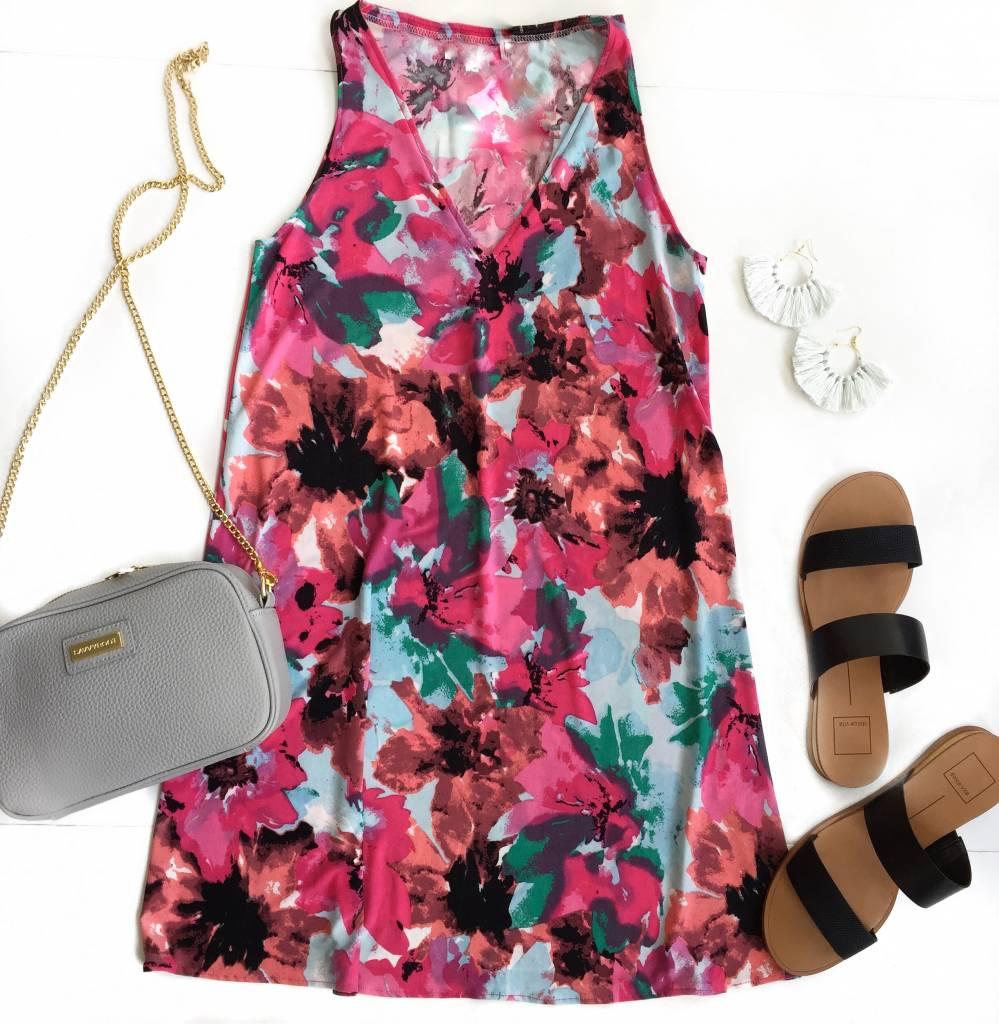 Floral Vneck Tank Dress