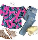 Pink Palm Off Shldr Top