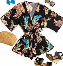 Blk Floral Kimono Slv Romper