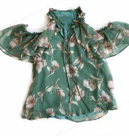 Green Floral Slit Shoulder Top