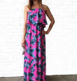 Pink Palm Halter Dress