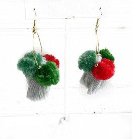 3 Pom/Tassel Earrings