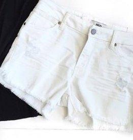 White Fray Hem Shorts