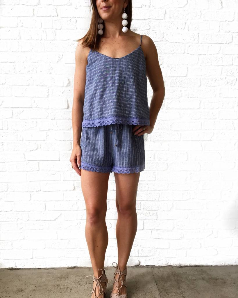 Denium and White Stripe Romper