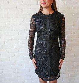 Black Woven Lace Sheath Dress