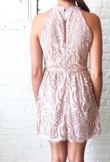 Blush Textured Lace Dress