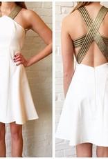 White/Gold Cross Back Dress