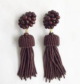 Wood Beaded Tassel Earrings