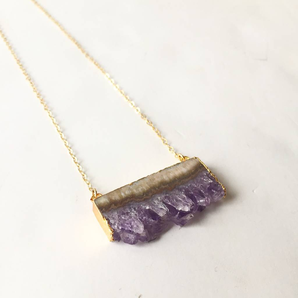 Amethyst Rectangle Necklace