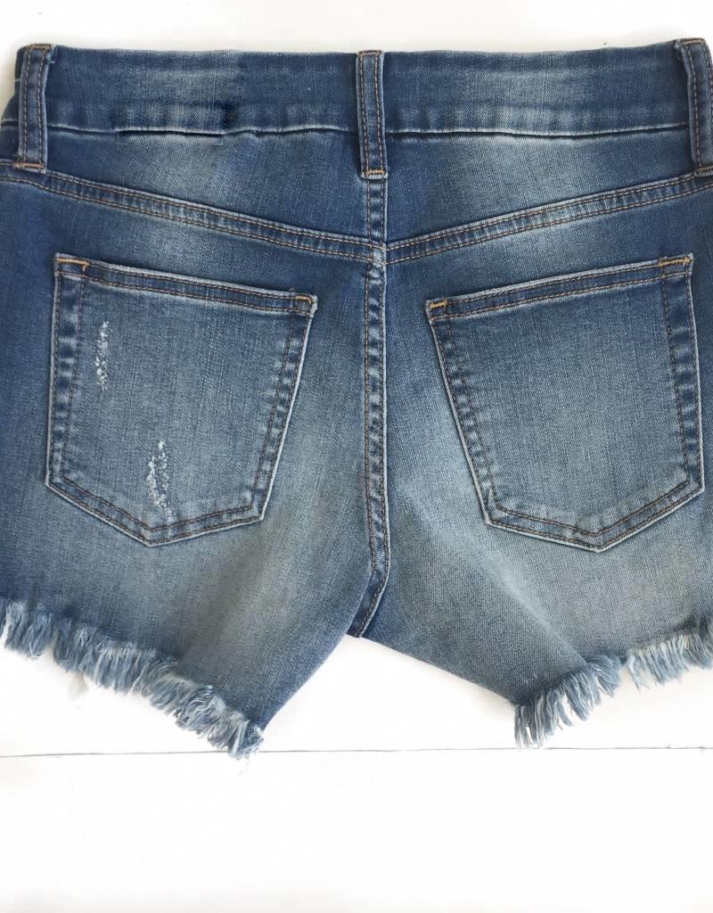 Medium Frayed Hem Demin Shorts