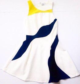 Wht S/L Color Block Dress