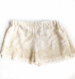 Cream Embroidered Crochet Short