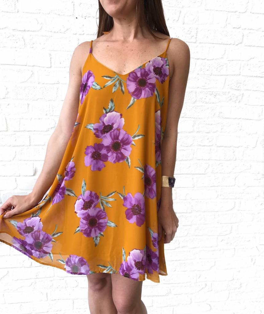 LSU FLORAL SPAGETTI STRAP DRESS