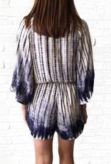 Blue Kimono Tie-Dye Romper