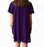 PLUM FLUTTER SLEEVE TUNIC