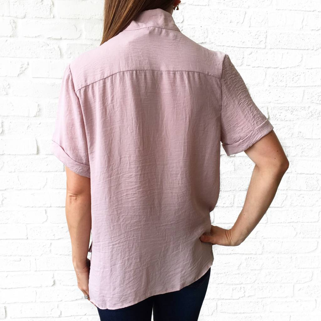 Blush Crossover Collared Shirt