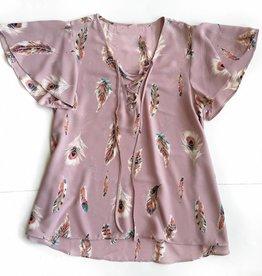 Buddylove Pink Feather Crisscross Sleeve Top