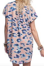 Pink Blue Chetta Lace Up Dress