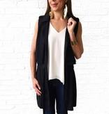 Lumiere Black Belted Slvless Jacket
