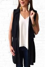 Black Belted Slvless Jacket