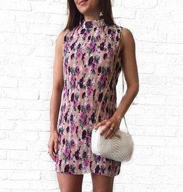 Pleated Rose Floral Swing Dress