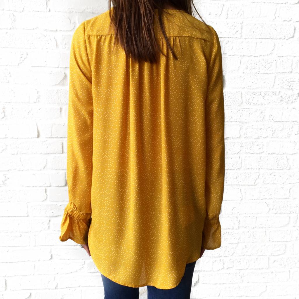 Yelllow Dotted Long Sleeve Top