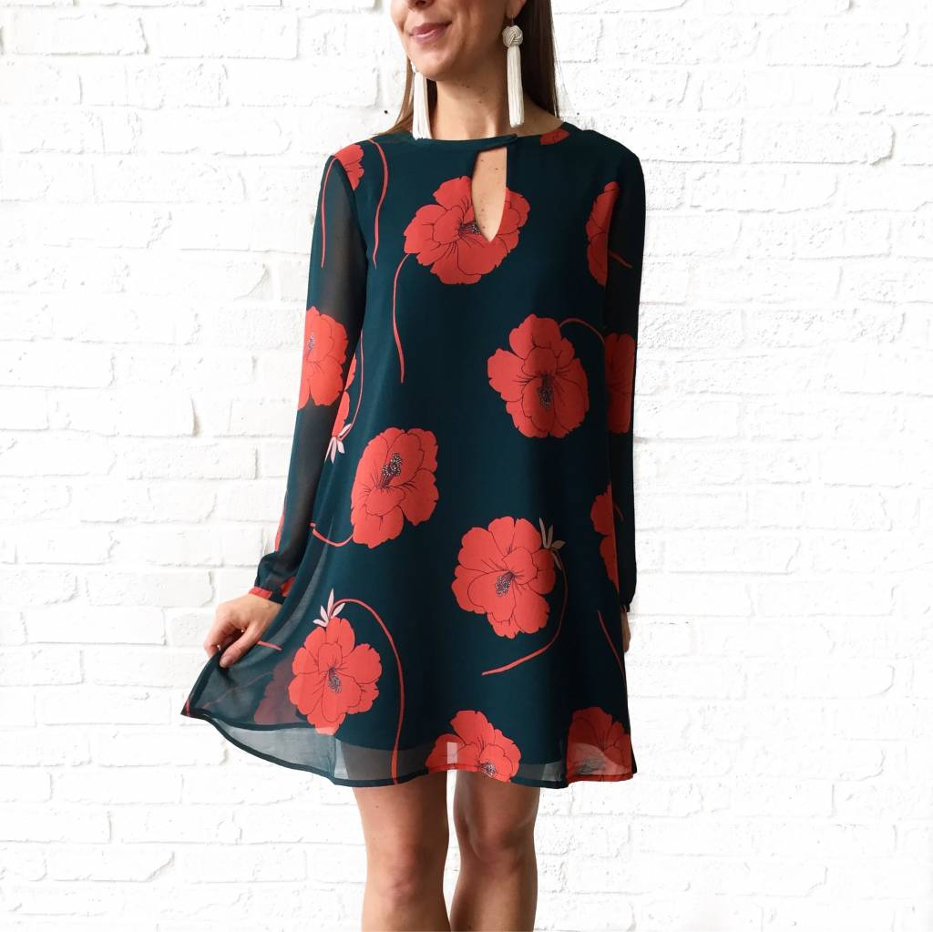 Red/Green Floral Dress