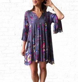 Grey Floral Print Bell Sleeve Dress