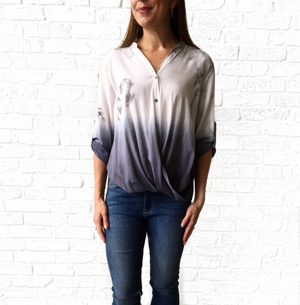 She+Sky Grey Ombre/Tie Dye 3/4 Slv Top