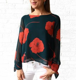 Cupcakes and Cashmere Red/Green Floral L/S Top