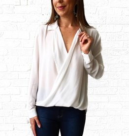 Lumiere White Collar Front Cross Top