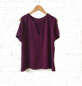 Adrienne Plum Slit Short Sleeve Top