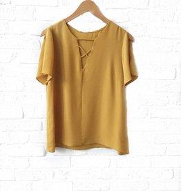 Adrienne Mustard Slit Short Sleeve Top