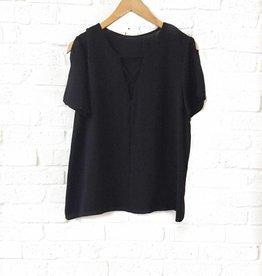 Adrienne Black Slit Short Sleeve Top