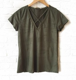 PPLA Olive Suede Top