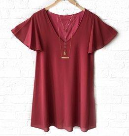 Caramela Marsala Flare S/S Dress