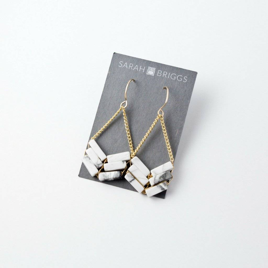 6 stone Marble Arrow Earring