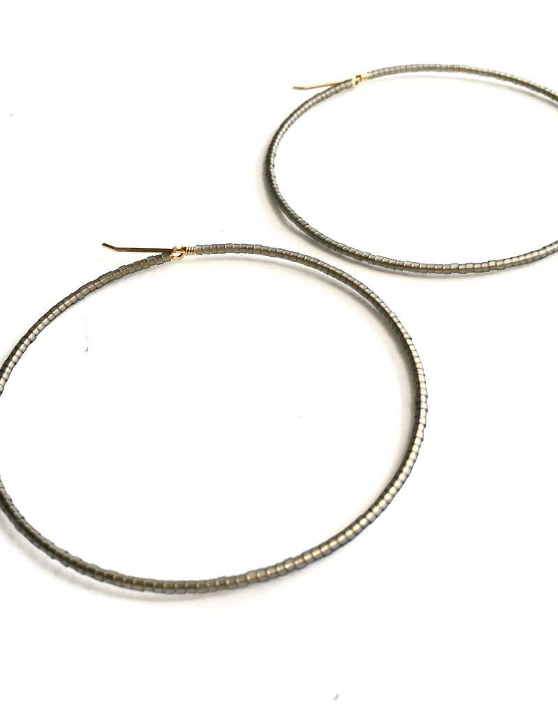 Erika Brass Beaded Hoop Smoke