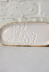 White Lace Oval Jewlery Tray