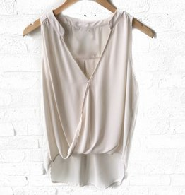 Ivory S/Less Surplice Collar Top