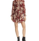 Burgundy Floral Tie Dress