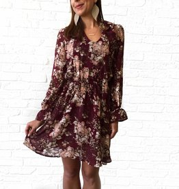 On the Road Burgundy Floral Tie Dress
