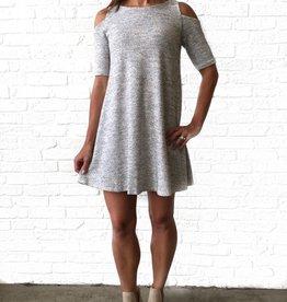 Dear Apple Grey Knit Cold Shoulder Dress