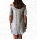 Grey Knit Cold Shoulder Dress