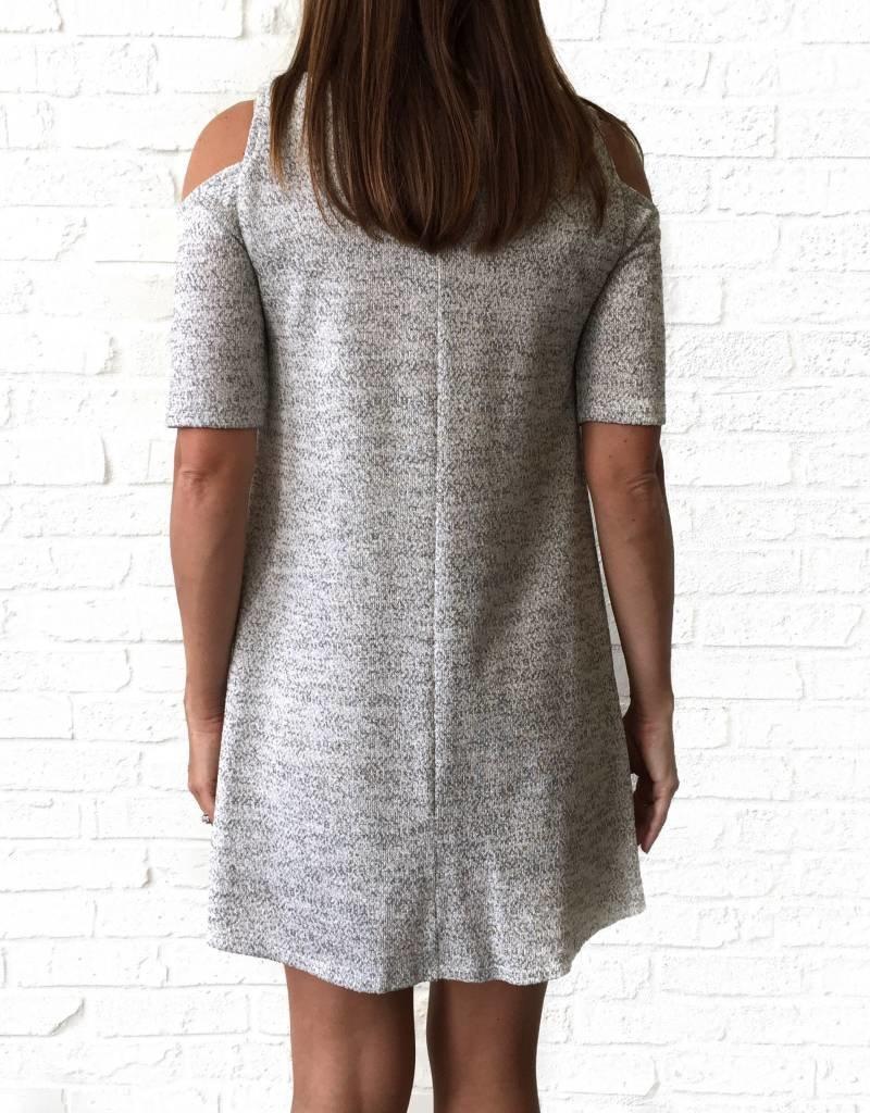 Grey Knit Cold Shoulder Dress