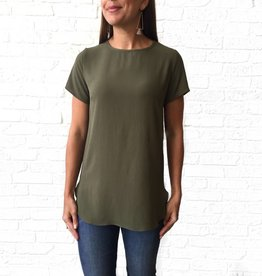 Adrienne Olive-Short Sleeve Bubble Blouse